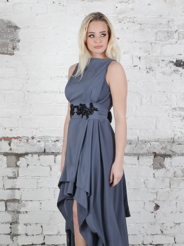 Gunmetal and Black Appliqué Wendy Dress