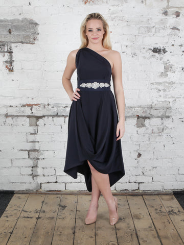 Navy Jessie Dress with Embellished Belt