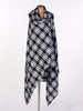 Black and White Tartan Drape Waterfall Waistcoat