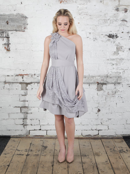 Silver Grey Lace Dolly Dress