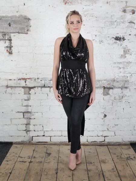 Black Sequin Alice Maxi Top