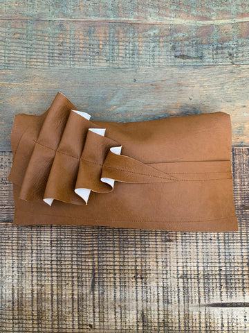Tan Vegan Leather Ruffle Clutch Bag - 075