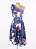 Blue Floral One Shoulder Caris Dress