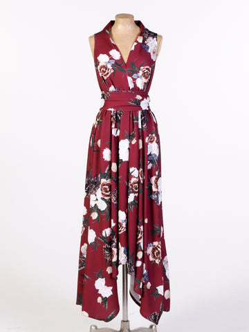 Deep Red Floral Asymmetric Darcy Maxi Dress