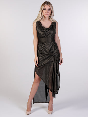 Black and Gold Shimmer Weave Willow Maxi Dress