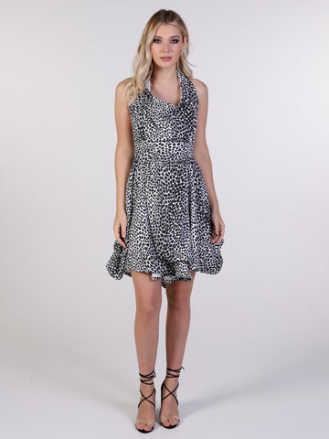 Black and White Leopard Print Alice Mini Dress