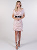 Nude Tiffany Mini Dress with Black Sequin Belt