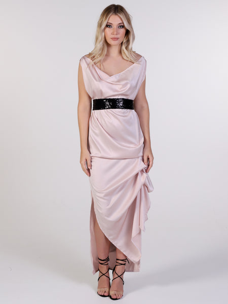 Nude Willow Maxi Dress with Black Sequin Belt