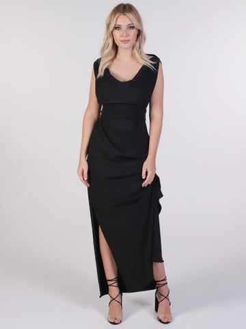 Black Ribbed Willow Maxi Dress