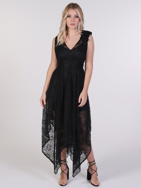 Black Lace Valentina Maxi Dress