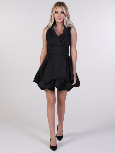 Distressed Black Trench Wrap Mini Dress