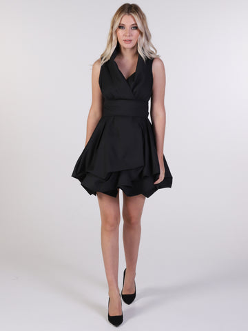 Black Trench Wrap Mini Dress