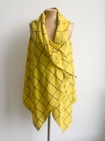 Yellow Barclay Check Waistcoat Top