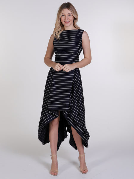 Navy Pinstripe Asymmetric Wendy Dress