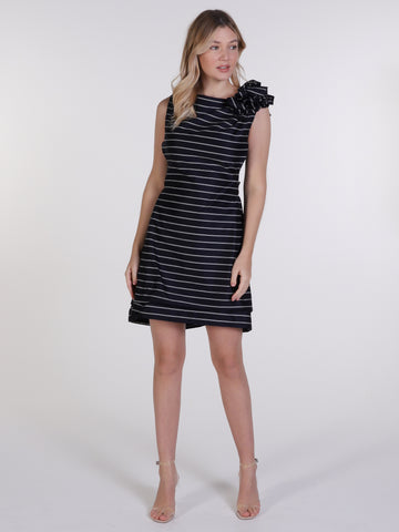 Navy Pinstripe Anna Mini Dress