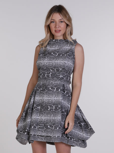 Grey Snake Print Mia Mini Dress