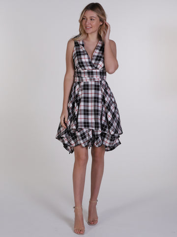 Black, White and Red Tartan Trench Wrap Dress