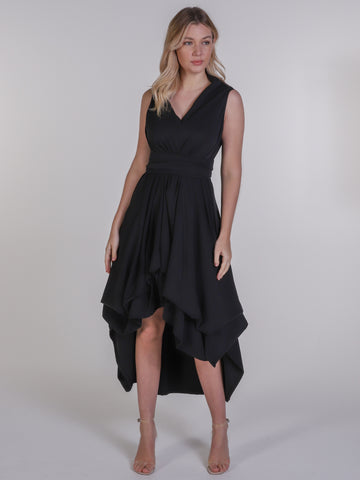 Black Asymmetric Harlow Dress