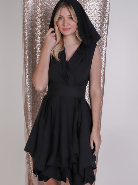 Black Trench Wrap Dress with Hood