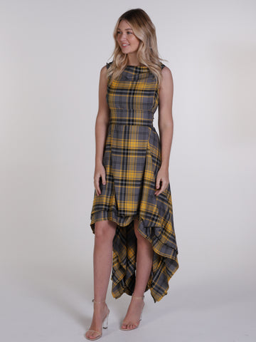 Grey and Yellow Tartan Wendy Dress