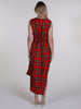 Bright Red and Yellow Tartan Willow Maxi Dress