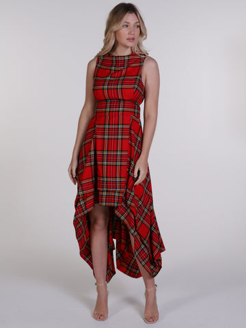 Bright Red and Yellow Tartan Wendy Dress