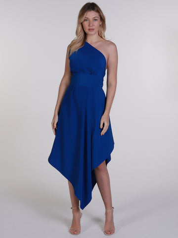 Royal Blue One Shoulder Belle Dress