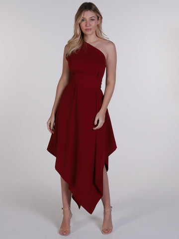 Deep Red One Shoulder Belle Dress