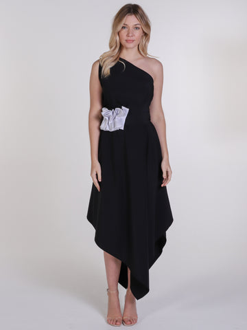 Black and Silver Ruffle Belle Dress