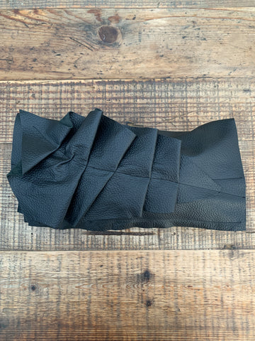 Black Leather Ruffle Clutch Bag - 039