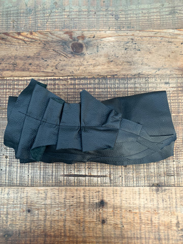 Black Leather Ruffle Clutch Bag - 075