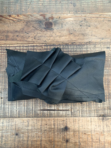 Black Ruffle Leather Clutch Bag - 036