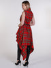 Bright Red and Yellow Tartan Drape Waterfall Waistcoat