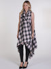 Black, White and Red Tartan Drape Waterfall Waistcoat