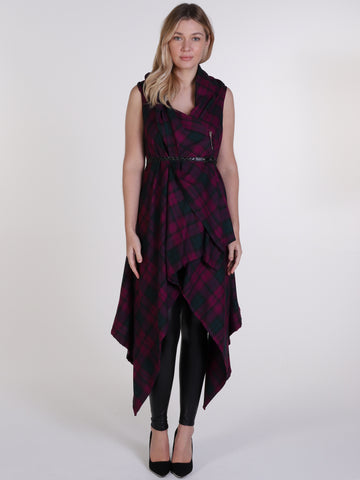 Maroon and Green Tartan Drape Waterfall Waistcoat