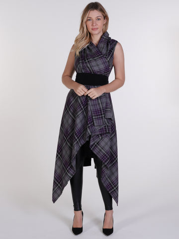 Grey and Purple Tartan Drape Waterfall Waistcoat