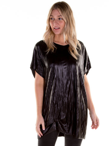 Leather Look Hitched T-Shirt Dress