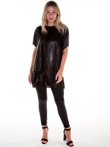 Black Snake Print Hitched T-Shirt Dress