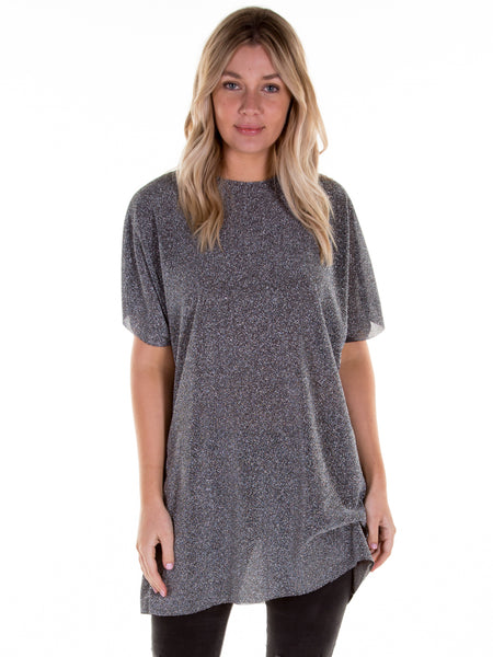 Silver Shimmer Hitched T-Shirt Dress