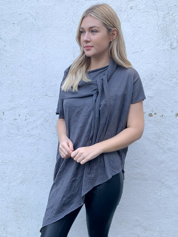 Grey Distressed Jersey Harper Top