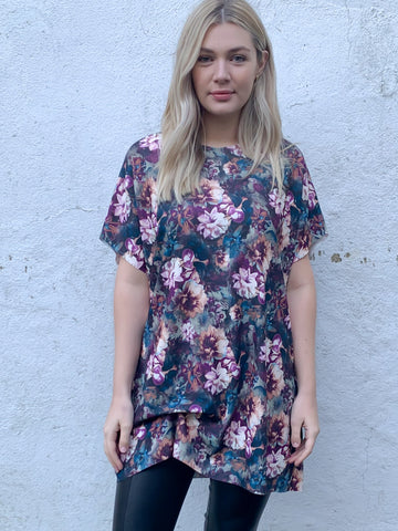 Midnight Floral Hitched T-Shirt Dress