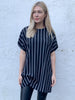 Black Stripe Hitched T-Shirt Dress