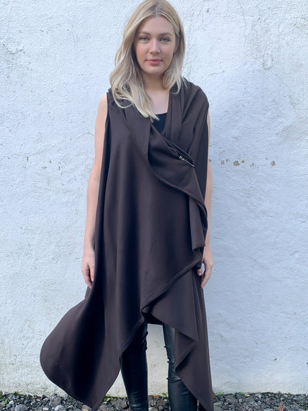 Chocolate Brown Drape Waterfall Waistcoat