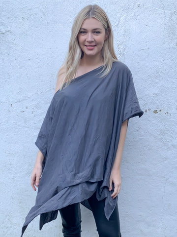 Grey Off The Shoulder T-Shirt Dress