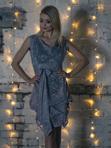 Silver Grey Lace Tiffany Dress