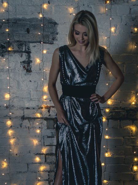Silver Grey Sequin Willow Dress