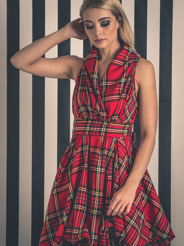 Bright Red and Yellow Tartan Trench Dress