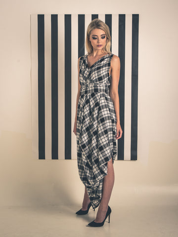 Black and White Tartan Poppy Dress