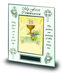 My First Communion Frame white and silver edges