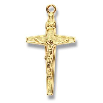 "Small Crucifix w/Patterned Inside and 18"" Chain - Boxed"